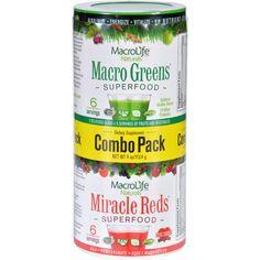 Macrolife Naturals Superfood - Macro Greens And Miracle Reds Combo Pack - 4 Oz