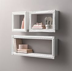 RH baby&child's Vintage Hand-Carved Display Shelf:Graced with intricate detailing, our shadowbox shelf is just deep enough to prop small books, stuffed animals and other tiny treasures. The open design makes it easy to create a revolving display of childhood curios.