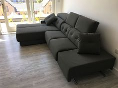 Versatile Habitat sofa in faux leather material. Sofa with adjustable headrests, sliding seats (with storage), chaise can be deployed as a single bed or 2 seater with backrest, and storage, and armrest can be deployed as extra seating space. Delivered to our client in Middlesex. Modern Sofa, Modern Bedroom, Sofa Bed Mattress Cover, Leather Bed, Extra Seating, Corner Sofa, Leather Material, Living Room Sofa, Sofa Design