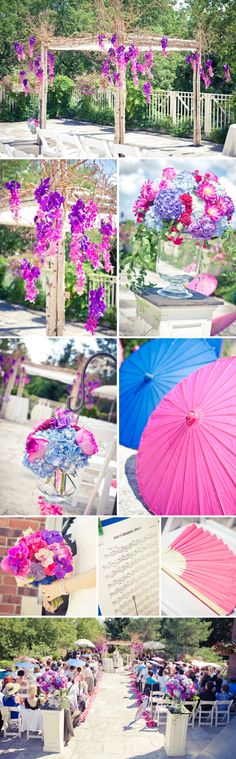 What a gorgeous purple, pink and blue ceremony!