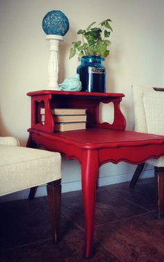 $145. Vintage Red Side Table Night Stand French by JunkLoveandCo on Etsy