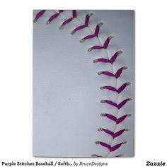 Purple Stitches Baseball / Softball Post-it® Notes