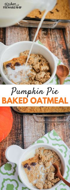 Pumpkin Pie Baked Oatmeal. Healthy soaked baked oatmeal recipe infused with the spices of autumn and a harvest of nutritious orange vegetables. Want your kids to eat veggies for breakfast? This is the recipe!