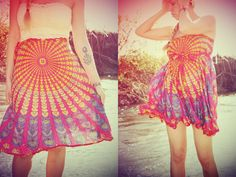 Mini Wrap Skirt Peacock Hippie Skirt CoverUp Boho by Cloud9Jewels, $32.00