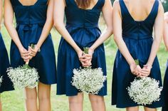 navy blue bridesmaid dresses 2014 winter wedding inspiration love the bouquets here actually, just baby's breath Navy Blue Bridesmaid Dresses, Wedding Bridesmaid Dresses, Navy Bridesmaids, Navy Dress, Dress Wedding, Wedding Bouquets, Wedding Flowers, Blue Wedding Colour Theme, Wedding Colors