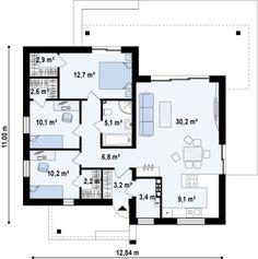 Проект практичного одноэтажного коттеджа из пеноблока и плоской крышей. Полный проект современного коттеджа с архитектурной и инженерной документацией на сайте компании Дом4М.