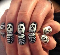 Skeleton Nails #nail #art #halloween
