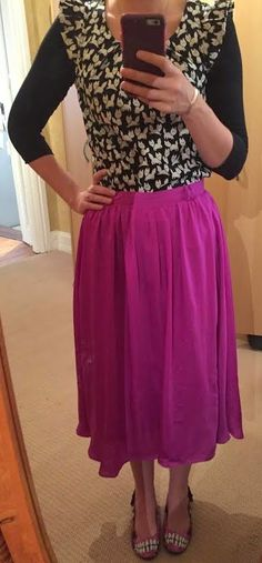 The Girl With Nothing to Wear: Patterned blouse, pink skirt, work style, spring style