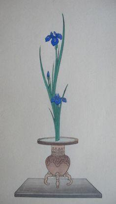 Old Japanese WOODBLOCK Ikebana Flower Print: IRIS (AYAME) in Usubata on Kwaidai