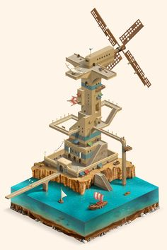 Flying fish City on Behance - id love to see more elaborate Monument Valley inspired structures!