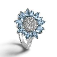 Wish | Exquisite Women's 925 Sterling Silver Floral Ring Diamond Flower Beautiful Aquamarine Sunflower Cocktail Jewelry Proposal Gift Rings Bridal Wedding Band Size 6 7 8 9 10 Jewelry Accessories, Jewelry Design, Look At My, Sunflower Ring, Daisy Ring, Sapphire Earrings, Ring Verlobung, Diamond Jewelry, Purple Jewelry