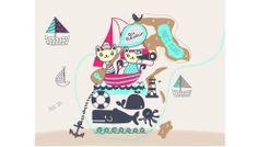 """Diseño de Colección """"Au Revoir"""" by nariasat. # kitty #preppy #sailor #beach #coolstripes #nauticblue #cuteanchor"""
