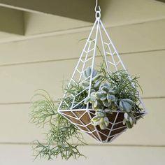 Unique & Modern DIY Outdoor Hanging Planter Ideas For Your Garden Modern Chevron Patterned Metal Planter Hanging Planters Outdoor, Plants For Hanging Baskets, Diy Hanging, Porch Planter, Fern Plant, Plant Basket, Plant Design, Garden Design, Spring Garden