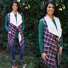 Plaid + fur lined vest = Gotta have it! Shop this 'Journey of Your Life Vest' online NOW --> link is in bio. Also in stores. $42.99 #shopPD