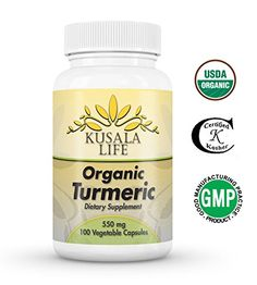 Quality Organic Turmeric Curcumin Capsules Daily Supplement 550mg 100 Capsules No Binders or Fillers Kosher Certified, Vegan. Natural Anti-Inflammatory Antioxidant * Check this awesome image  : Herbal Supplements
