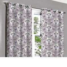 Soul Purple & Silver Damask Grommet Unlined by TheHomeCentric