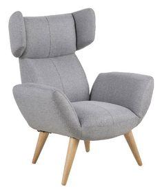 Arthur øreklapstol - grå - Lækker hvilestol i gråt stof med armlæn og høj ryg, som giver god komfort. Øreklapstolen er betrukket med en robust polyester, der både er smuds og vandafvisende. Hvilestolen kan passe ind i et hvert skandinavisk hjem, da den er enkel og moderne. Tilhørende fodskammel kan købes.