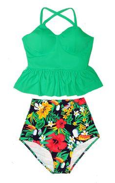 CNSTORE Women Swimsuits with Boyshort Bottom Tummy Control Two Piece Bathing Suit Stripe Print Dress Swimwear