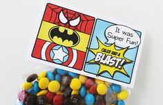 "Superhero Collection (Spiderman Batman Capt America). Favor Tags (5"" fold over). DIY Printable Design. Pinkadot Shop. $6.00, via Etsy."