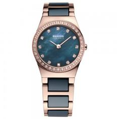 This elegant Ladies Bering Ceramic Bracelet Watch combines rose gold plated stainless steel with blue ceramic, set with a stone set bezel.