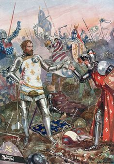 King John of France surrendering himself to the English at the Battle of Poitiers on September 1356 in the Hundred Years War Medieval World, Medieval Knight, Medieval Armor, Medieval Fantasy, French History, European History, Edward The Black Prince, Armadura Medieval, Knight Art