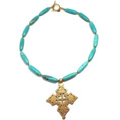 Turquoise and Coptic Cross Necklace | Only available at Peyton William. www.peytonwilliam.com
