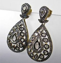 Victorian 5.18cts Polki & Rose Cut Diamond Earrings, Free Shipping