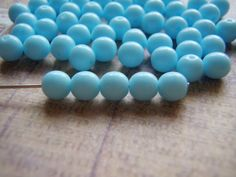 Baby Blue Beads Opaque 6 mm 20 Beads