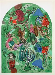 The Tribe of Asher (Lithograph Marc Chagall - The 12 Maquettes of Stained Glass Windows For Jerusalem Marc Chagall, Artist Chagall, Folklore Russe, Chagall Windows, Chagall Paintings, Pablo Picasso, Jewish Art, Art Forms, Les Oeuvres