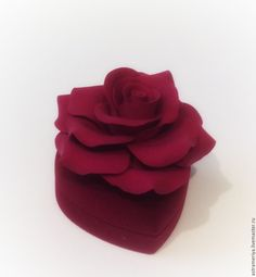 Купить Футляр для кольца с Розой из полимерной глины - ярко-красный, красный цвет, футляр для украшений
