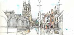 Manchester urban sketching group visit Stockport