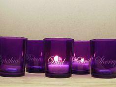 48 Personalized Purple Votive Holders Glass by daydreemdesigns