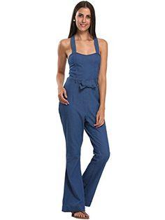 705d3d21470 Choies Womens Blue Halter Tie Waist Backless Denim Jumpsuit One Piece for  Club M    Click image to review more details.
