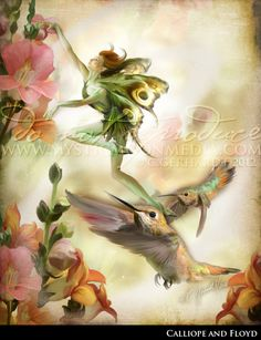Calliope & Floyd - Print w/ Mat This beautiful Fantasy Artwork of a flower fairy teaching her young humming birds how to feed from the flowers.  This is a lovely digital drawing / painting of fantasy fairies... a great piece of digital fantasy art.