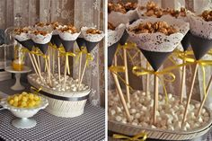 Lace Caramel Corn Cones | Grey + Yellow Dessert Table from www.ohsugareventplanning.blogspot.com
