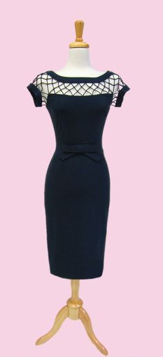 love the detail and i looove navy. //Alika Pencil Navy   Bettie Page Clothing