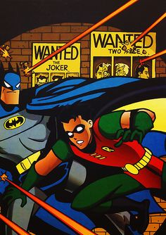Batman and Robin @Christina & Hoopes I love the vivid colors and the old-fashioned comic art