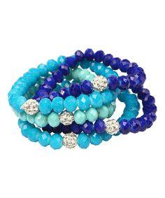 Look at this #zulilyfind! Turquoise & Lapis Crystal Crosby Street Stretch Bracelet Set #zulilyfinds
