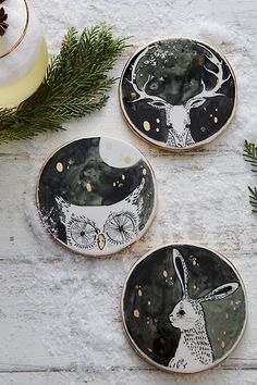 Moonlit Forest Coaster. Bring the enchanted forest into your home this season with our woodland creature moonlit coasters!