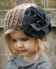 CROCHET + FELT ~ Add some bling to a simple crocheted headband with a large scaled felt flower.