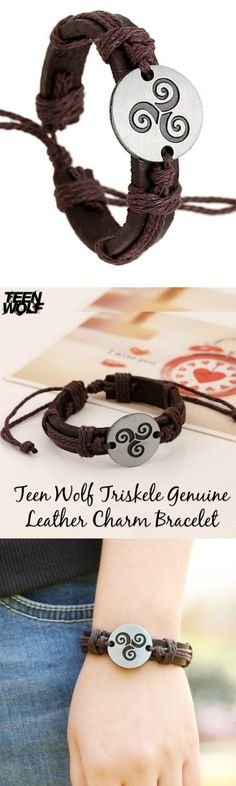 "Teen Wolf Triskele Genuine Leather Charm Bracelet! Click The Image To Buy It Now or Tag Someone You Want To Buy This For.  <a class=""pintag searchlink"" data-query=""%23TeenWolf"" data-type=""hashtag"" href=""/search/?q=%23TeenWolf&rs=hashtag"" rel=""nofollow"" title=""#TeenWolf search Pinterest"">#TeenWolf</a>"