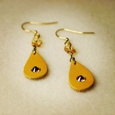 Handmade Beaded Jewelry, Swarovski, Drop Earrings, Leather, Drop Earring