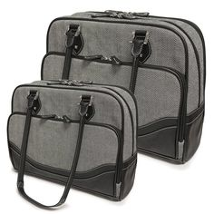 Classic gray and black laptop totes for the sophisticated lady by @MobileEdge. http://www.mobileedge.com/classic-herringbone-laptop-tote.html