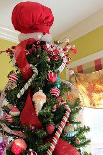 Kitchen Christmas Tree - Santa Chef Hat Topper - Harris Sisters GirlTalk