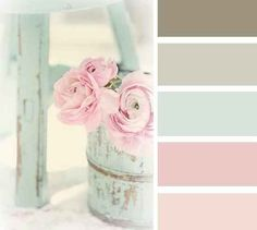 I seriously LOVE this color palette. These are perfect colors for a little girl's nursery. <3 <3 Or even a bathroom, or kitchen... or.. anything really