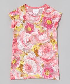 Take a look at this Pink & Yellow Floral Lace Top - Infant, Toddler & Girls by Bride and Babies on #zulily today!