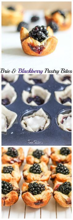 Brie & Blackberry Pastry Bites - These are super easy to make & taste amazing.