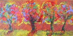 Amy Whitehouse Paintings: A Walk In The Park, Contemporary Whimsical Landscape by AZ Artist Amy Whitehouse