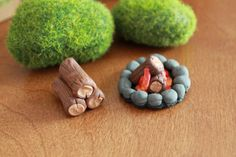 My love for camping overfloweth ;) This listing is for a cute little set of a firewood stack and campfire ring - complete with crackling fire ;)
