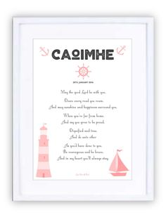 Nautical Pinks Personalised Prints, New Beginnings, Nautical, Framed Prints, In This Moment, Navy Marine, Nautical Style